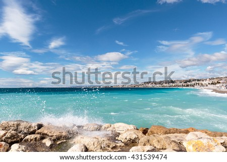 AZUR III - view over the 'Baie des Anges' in Nice on the French Riviera. - stock photo