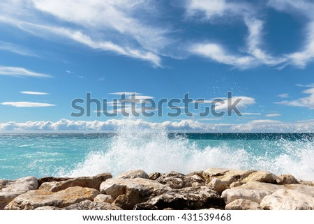 AZUR V - view over the 'Baie des Anges' in Nice on the French Riviera. - stock photo