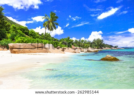 azure beaches of tropical islands. Seychelles - stock photo