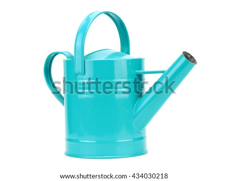 Azure blue watering can on a white background