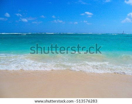 Azure Caribbean Sea. coast of the Dominican Republic. Caribbean, Atlantic Ocean