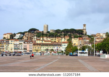 Azure coast of france, Cannes resort, old town Castrum Canois on Le Suquet - stock photo