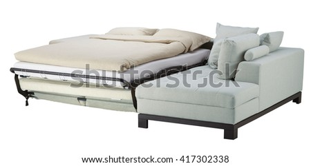 Azure mist couch bed isolated on white. Include clipping path - stock photo