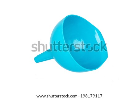 Azure plastic funnel isolated on white background