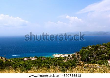 Azure sea at Makarska rivera, Croatia - stock photo