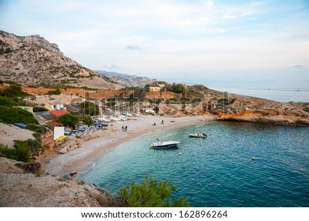 Azure waters of bay in Calanqus natural park, Marseille, France - stock photo