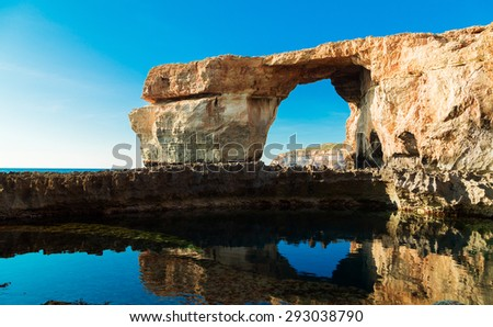 Azure Window, famous stone arch of Gozo island in the sun in summer, Malta - stock photo