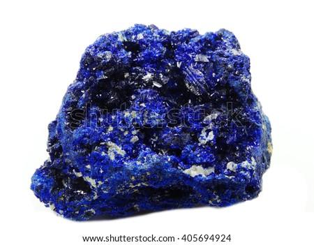 azurite semiprecious geological crystal isolated - stock photo