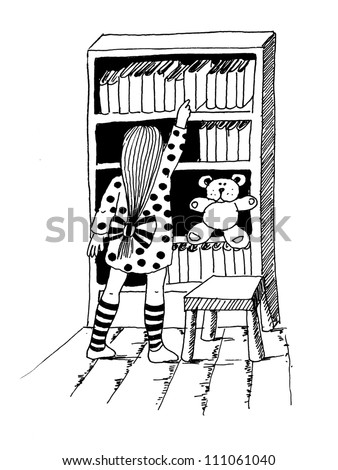 B and W ink illustration of girl in the library