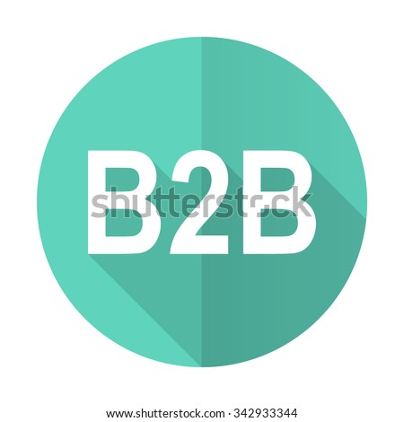b2b blue web flat design circle icon on white background  - stock photo