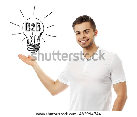 B2B business to business concept. Handsome young man with idea bulb above the head isolated on white