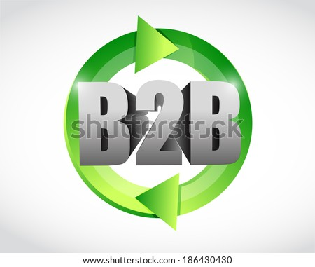 b2b cycle illustration design over a white background - stock photo