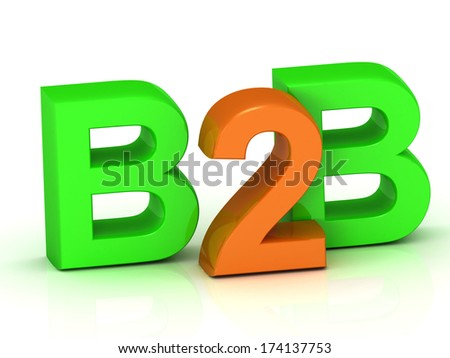 B2B 3d word colour bright letter on white background