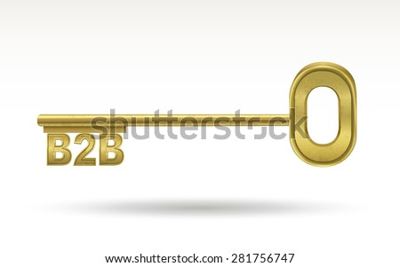 B2B - golden key isolated on white background