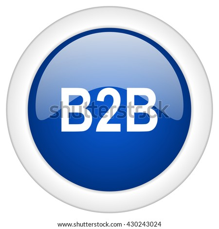 b2b icon, circle blue glossy internet button, web and mobile app illustration - stock photo