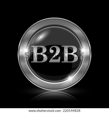 B2B icon. Internet button on black background.  - stock photo