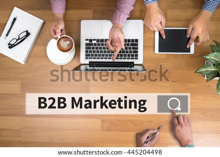 B2B Marketing man touch bar search and Two Businessman working at office desk and using a digital touch screen tablet and use computer, top view - stock photo