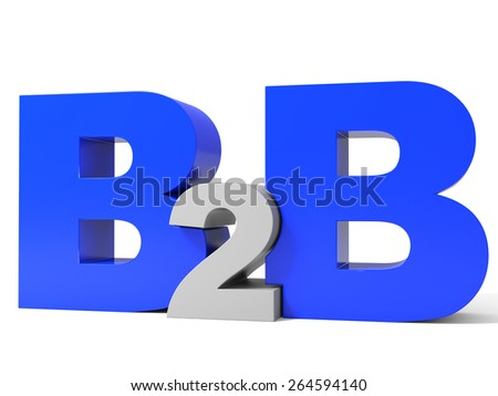 B2B volume letters on white background. 3D illustration. - stock photo
