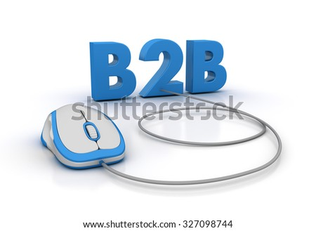 B2B Word with Computer Mouse - High Quality 3D Render - stock photo