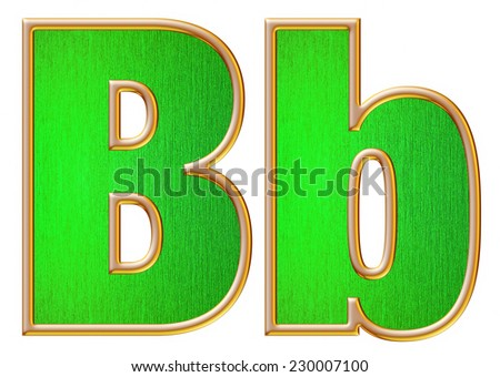 B big and small alphabet in Gold with inside Metallic Green texture on white background.  - stock photo