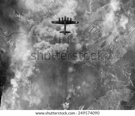 B-17 bomber during an March 1945 bombing raid on Erkner, Germany. - stock photo