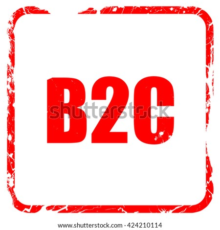 b2c, red rubber stamp with grunge edges