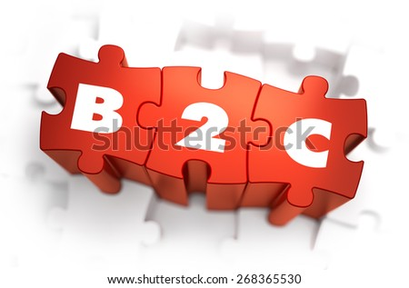 B2C - White Word on Red Puzzles on White Background. 3D Illustration. - stock photo