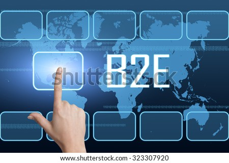 B2E - Business to Employee concept with interface and world map on blue background