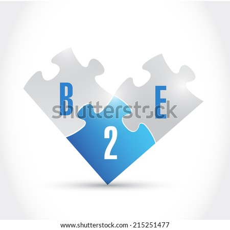 b2e puzzle pieces illustration design over a white background