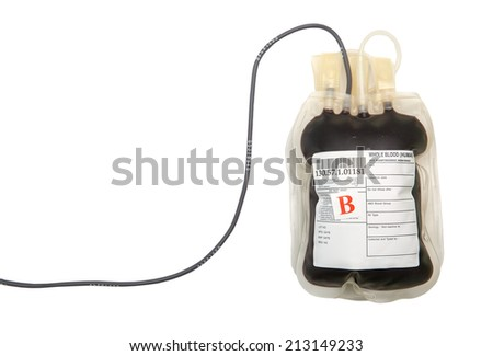 B group blood bag with tube on white background