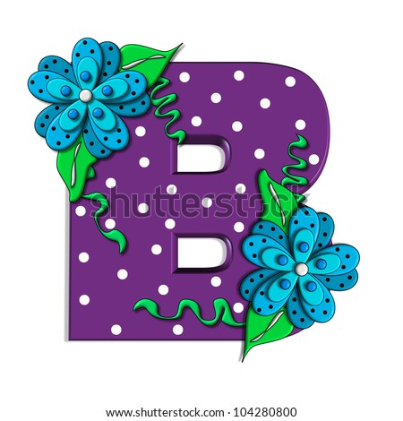 """B, in the alphabet set """"Clinging Vine"""", is decorated with mod flowers in three layers.  Letters are purple and vines and leaves are mint green. - stock photo"""