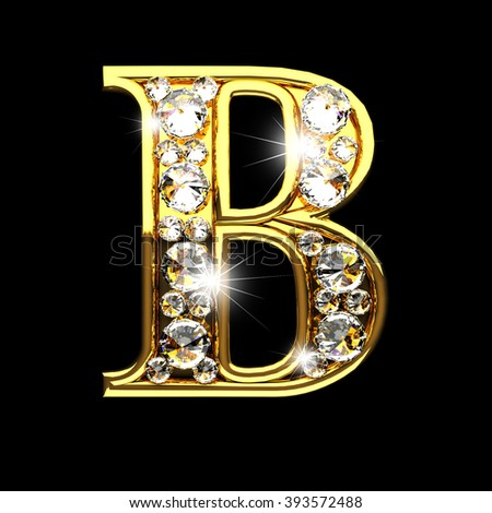 b isolated golden letters with diamonds on black