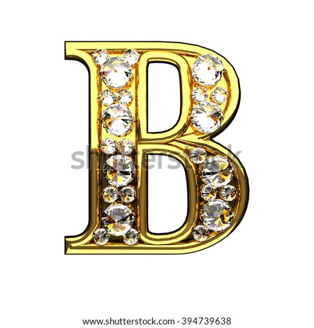 b isolated golden letters with diamonds on white