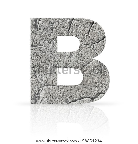 b  letter cracked cement texture