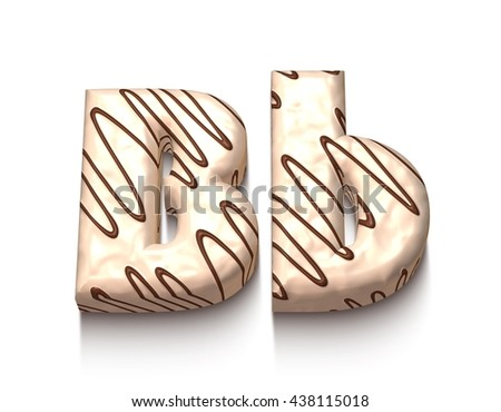 B letter of white chocolate with brown cream in 3d rendered on white background. - stock photo