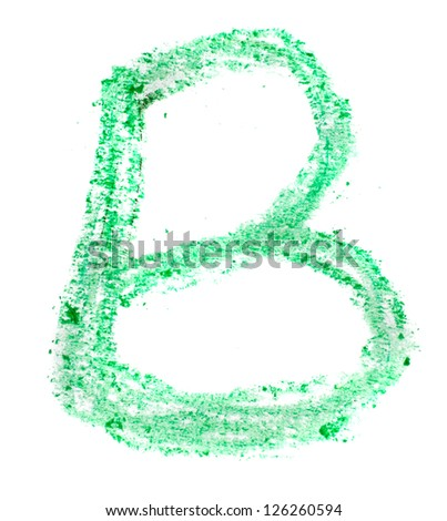 B letter painted on a white background - stock photo
