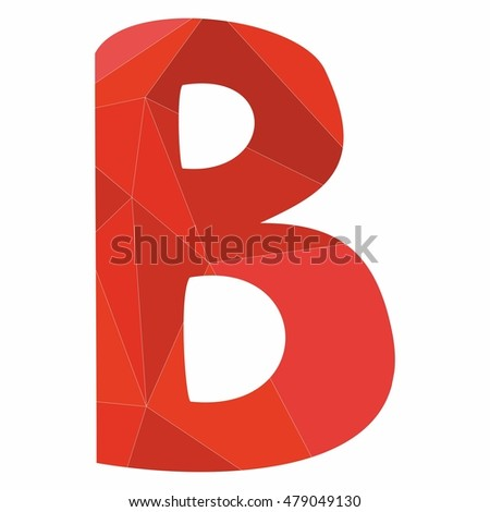 B red alphabet wrapping surface letter isolated on white background