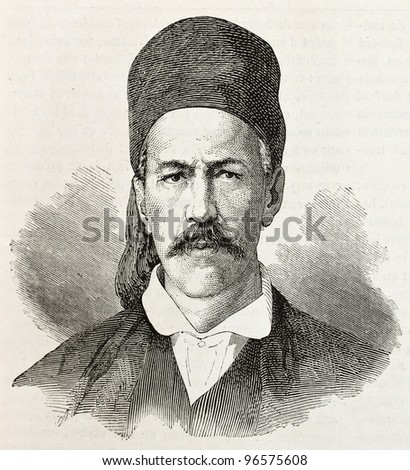 B. Roufos old engraved portrait (member of provisional Greek government). Created by Chenu, published on L'illustration, Paris, 1863. - stock photo