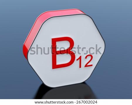 B12 vitamin red box - stock photo