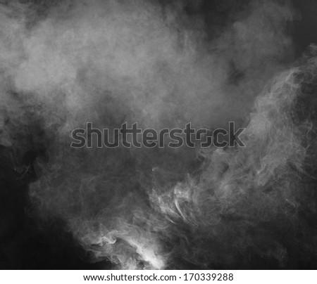 B&w abstract smoke on a dark background - stock photo