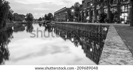 B+W Entrepotdok canal, Amsterdam 2. - stock photo