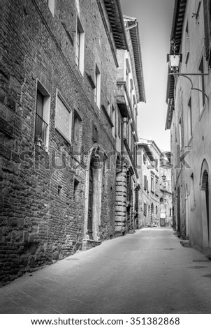 B&W scene of captivating Montepulciano town in Tuscany, Italy