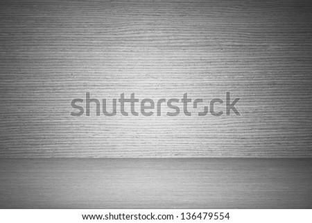 B&W wood floor and wall room. - stock photo