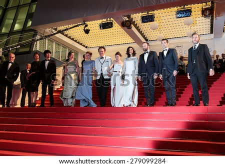 B. Wishaw, A. Papulia Lea Seydoux, J. C. Reilly, J. Barden, R. Weisz,Y. Lanthimos Colin Farell at the Premiere of 'The Lobster' , 68th annual Cannes Film Festival on May 15, 2015 in Cannes, France. - stock photo