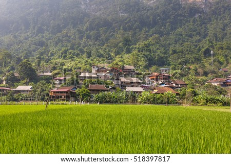 Ba Be Lake, Bac Kan Province, Vietnam - September 22, 2016 : the village of ethnic minorities in mountain area of Ba Be Lake in Bac Kan Province, Vietnam