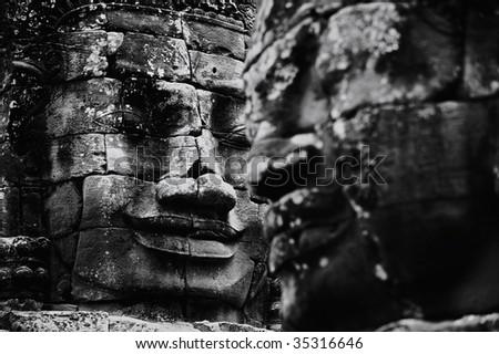 Ba yon Temple of face Cambodia - stock photo