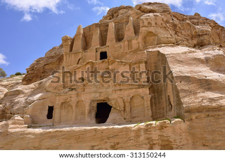 Bab al-Siq, ancient tomb in world wonder Petra, Jordan - stock photo