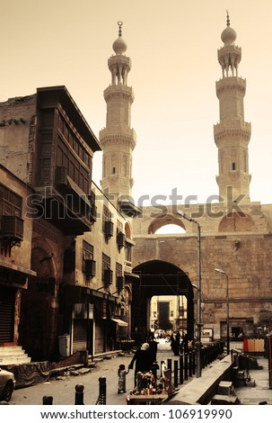 Bab Zuwayla - Southern Gate - historical building in Cairo. Inside view - stock photo