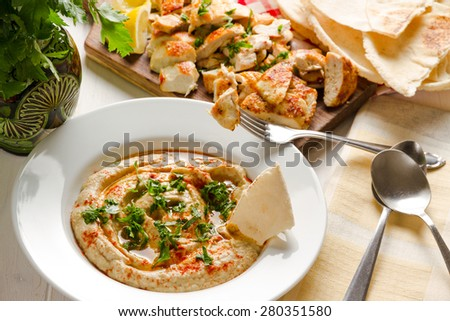 Baba ganoush, arabian appetizer from tahini and baked eggplant, excellent dip for meat or separately only to the Arab bread - stock photo