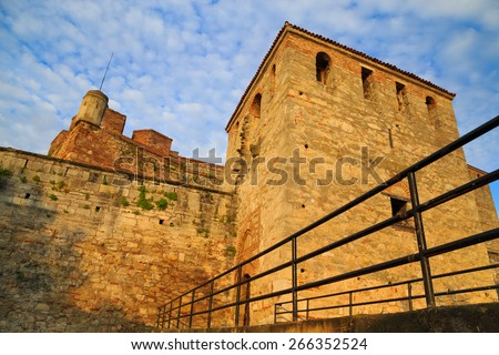 Baba Vida is a medieval fortress in town of Vidin in northwestern Bulgaria and the town's primary landmark. Baba Vida fortress  is the only entirely preserved medieval castle in the country. - stock photo